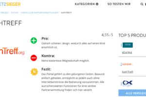 Wir freuen uns über die gute Bewertung von kathTreff im Singlebörsen-Testvergleich!